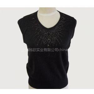 供应镶钻V领中年女装 中老年羊毛衫品牌毛衣8082
