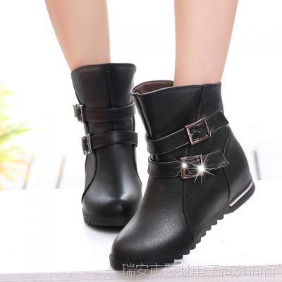 秋冬加绒短筒女靴马丁靴平底短靴复古英伦靴子棉鞋