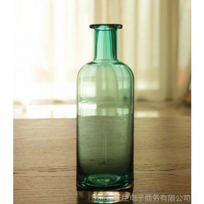 清新简约 蓝色透明玻璃插花瓶 水培瓶子 家居装饰 zakka杂货 高款
