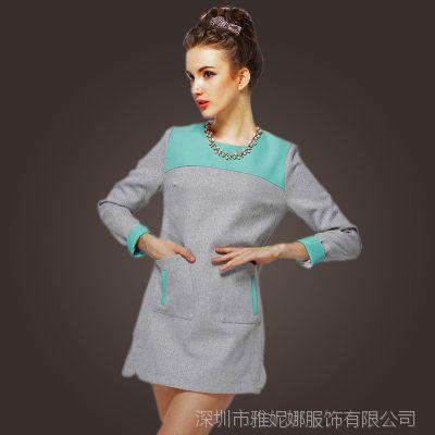 2014冬季新款修身呢子圆领连衣裙拼接长袖收腰显瘦加厚保暖短裙女