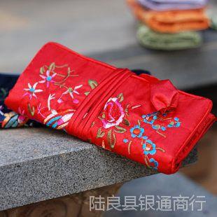 厂家直销民族原创风 女生 苗绣绸布收纳包(大红)  新款1002865