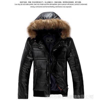 供应加厚加棉中长款毛呢大衣 男士风衣 外套翻领男式风衣大衣
