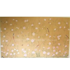 供应丝绸手绘墙纸 真丝手绘壁纸 纯手工绘画 金箔画 苏绣