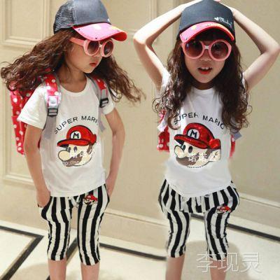2014夏装新款韩版女童套装卡通条纹套装免费加盟开店免费一件代发