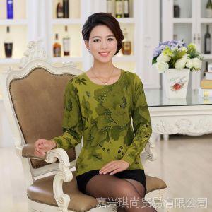供应2013秋装新款正品中年女装圆领韩版长袖针织衫打底衫套头现货批发