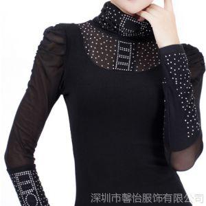供应2014春装新款网纱T恤大码高领打底衫 女 韩版 潮新款长袖