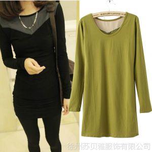 供应2013秋季新款韩版女式修身显瘦前后两穿中长款包殿长袖T恤打底衫