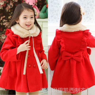 2014冬季童外套韩版呢子夹棉外套双排扣毛领女童风衣品牌童装批发