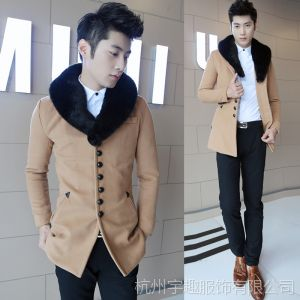 供应2013冬装新款韩版男式中长休闲修身毛呢大衣毛领风衣外套潮单排扣