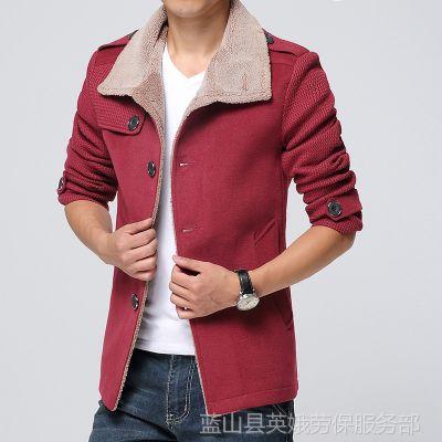 供应男装 韩版 中长款 毛线袖 拼接男式风衣