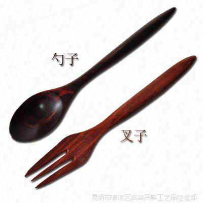 泰国木质特色工艺品 餐饮用具套装 红木家居5寸红木调味勺/水果叉