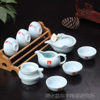 供应盖碗礼品茶具 粉青茶具 10件套青瓷茶具套装厂家直销