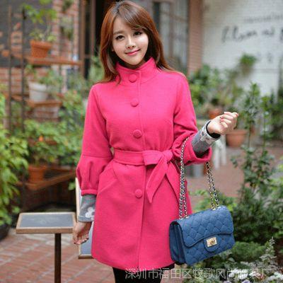 秋冬新款风衣 韩版七分袖宽松女士羊绒呢子大衣女
