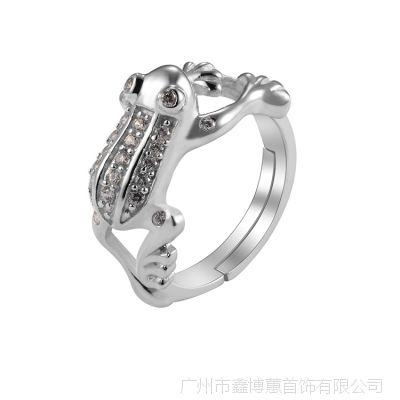 925银青蛙王子戒指 银饰批发 锆石戒指