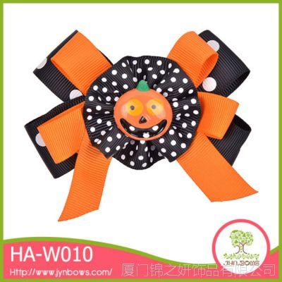 万圣节儿搞怪南瓜头饰 圆点罗纹带儿童发夹HA-W010 厂家直销