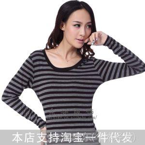 供应秋装新款韩版女装修身条纹圆领T恤 外贸原单女装打底衫长袖 9817