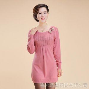 供应2013秋冬新款褶皱羊毛衫中长款宽松套头女式打底衫长袖 现货批发