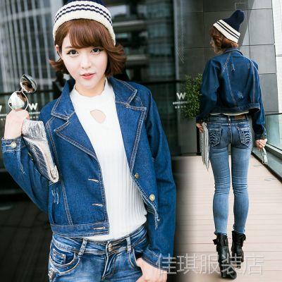 供应搭配劲减大翻领大口袋夹克牛仔上衣 韩版秋季新款宽松牛仔外套