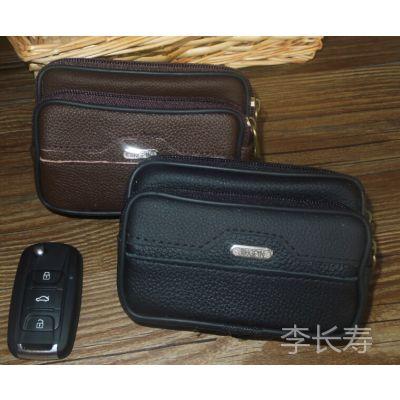 厂家直销手机腰包真皮 穿皮带 男士多功能手机包双层牛皮小腰包