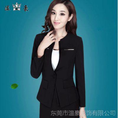 秋冬新款修身显瘦气质OL通勤长袖黑色职业女套装西装工装制服批发
