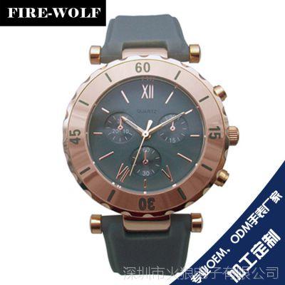 供应韩版时尚三眼六针硅胶手表 女款运动休闲手表 进口防水石英表