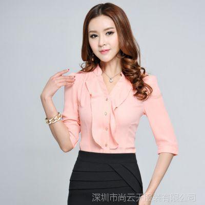韩版时尚修身显瘦女式职业工作装 短袖衬衫女士衬衣加工定制