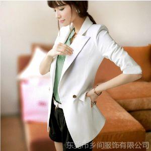供应2013韩版休闲西装外套女 秋装新款中长款修身西服女士西装 HJ