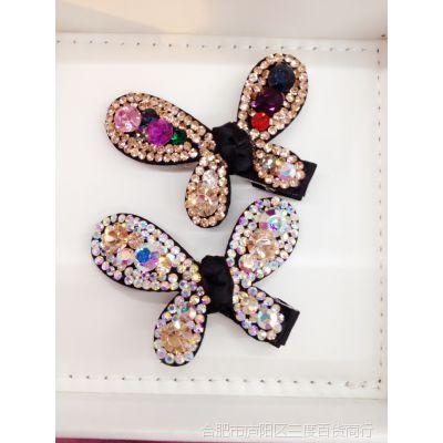 韩版精美水钻满钻手工蝴蝶结发夹、顶夹、边夹,捏夹
