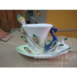 供应景德镇陶瓷珐琅瓷咖啡杯碟勺三件套