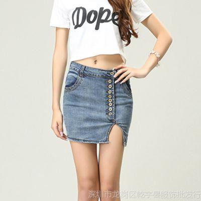 实拍2014夏装新款牛仔短裙女士显瘦修身淑女开叉包裙半身裙