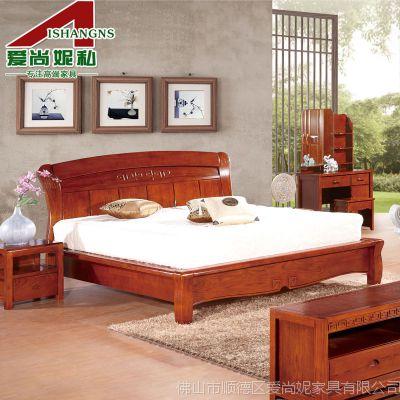 爱尚妮私 实木床 1.8米双人床 白蜡木床特价 中式卧房家具特价206