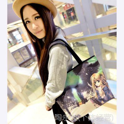 厂家直销2013新款热卖数码喷涂系列帆布包休闲女包商场购物必备
