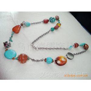 Deru德儒饰品  生产供应 绿松石+合金串珠欧美复古项链 长项链 。