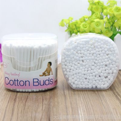 韩国宝宝棉签 抗菌纯棉花棒圆盒200支婴幼儿童棉签 现货批发