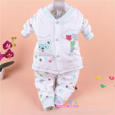 新款热销婴儿纯棉内衣 59-73码卡比一本小熊开胸套 宝宝内衣 0317