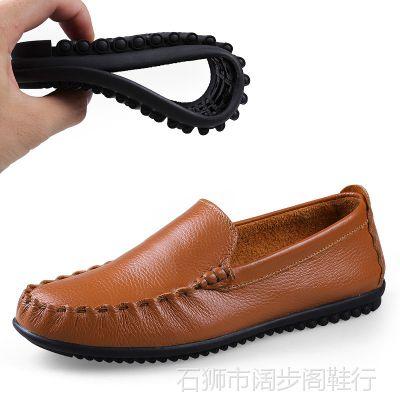 厂家直销秋季单鞋休闲男鞋子正装男皮鞋真皮休闲男式皮鞋套脚男鞋