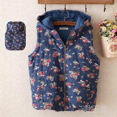 厂家直销 韩版水洗扎染连帽加厚马甲背心 热销女式马甲 外套