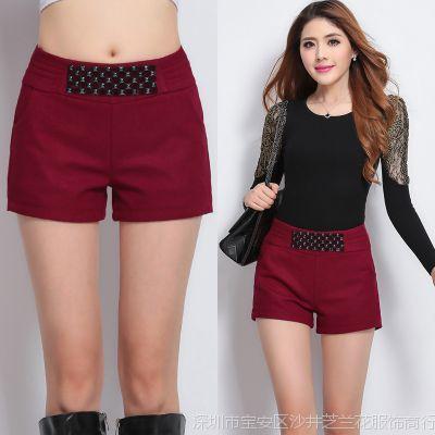 2014新款短裤毛呢短裤靴裤显瘦女裤子冬季休闲裤短裤