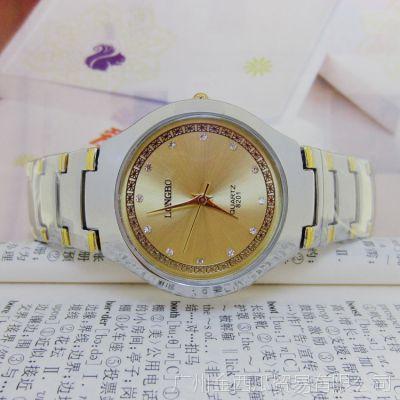 厂家直销龙波白金钢带表 男女士手表 手表批发 进口机芯8201