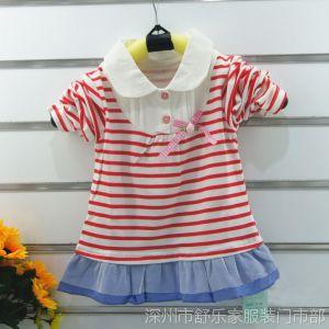 供应热销2014春款新款童装婴儿服装批发爱儿米琪拼胸翻领衫蓝色
