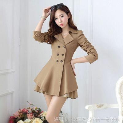 风衣秋装外套女装新款2014新潮韩版甜美公主荷叶蝴蝶结外套