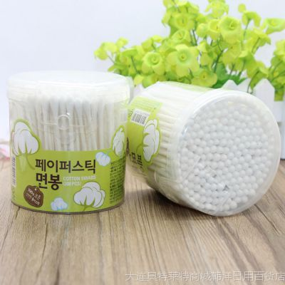 韩国进口 盒装棉签 纯棉双头 200支 经济罐装
