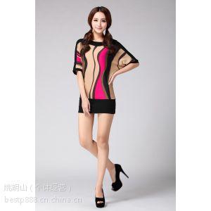 供应2014夏季新款女装条纹针织衫中长款宽松套头短袖T恤女