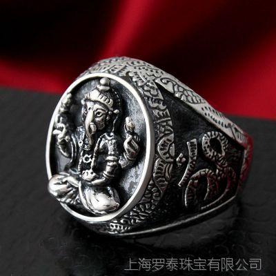 【ZABRA】925纯银男士首饰 吉祥八宝 莲花 吉祥象戒指指环 新款