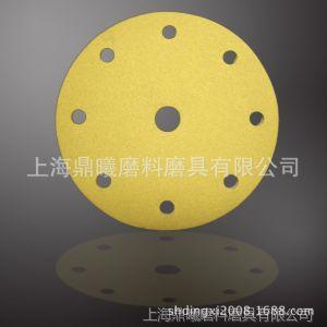 供应3M236U5寸6孔带孔背绒背胶自粘砂纸拉绒圆盘砂纸片厂一级黄色砂纸片