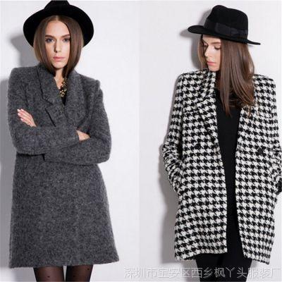 欧美长款女风衣大码双排扣加厚修身毛呢外套大衣