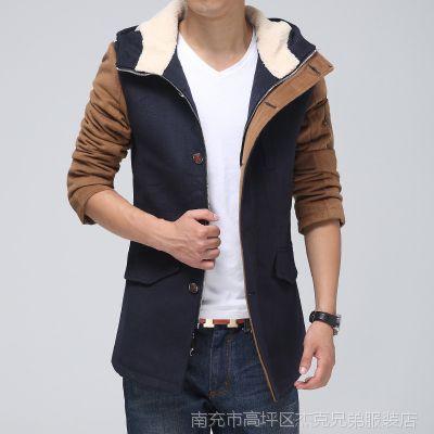 2014秋冬新款男式大衣 中长款休闲风衣 高档男士修身呢子大衣外套