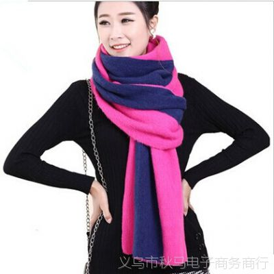 男女士条纹情侣围巾女 冬季韩国学生加厚仿羊绒针织大围脖披肩