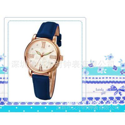 时尚潮流女士手表在艾尔时手表工厂订制 进口小牛皮女表