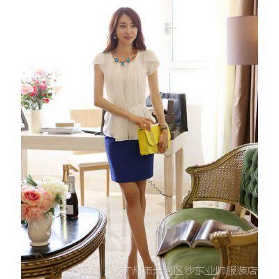 2014夏季新款显瘦雪纺衫 修身纯色荷叶边女式短袖衬衫OL上衣